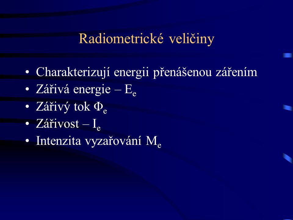 Radiometrické veličiny Charakterizují energii přenášenou zářením Zářivá energie – E e Zářivý tok Φ e Zářivost – I e Intenzita vyzařování M e