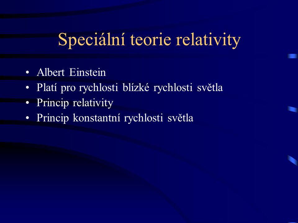 Speciální teorie relativity Albert Einstein Platí pro rychlosti blízké rychlosti světla Princip relativity Princip konstantní rychlosti světla