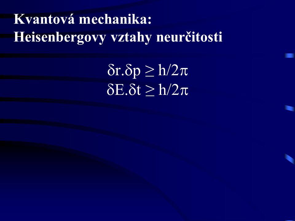 Kvantová mechanika: Heisenbergovy vztahy neurčitosti  r.  p ≥ h/2  .  t ≥ h/2 