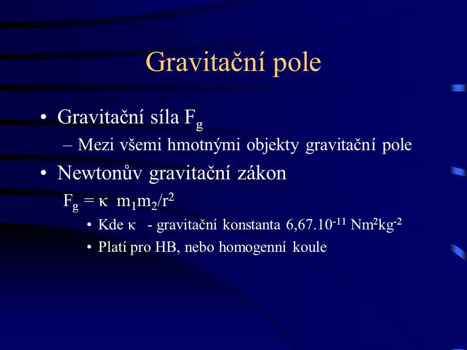 Gravitační pole Gravitační síla F g –Mezi všemi hmotnými objekty gravitační pole Newtonův gravitační zákon F g = κ m 1 m 2 /r 2 Kde κ - gravitační konstanta 6,67.10 -11 Nm 2 kg -2 Platí pro HB, nebo homogenní koule