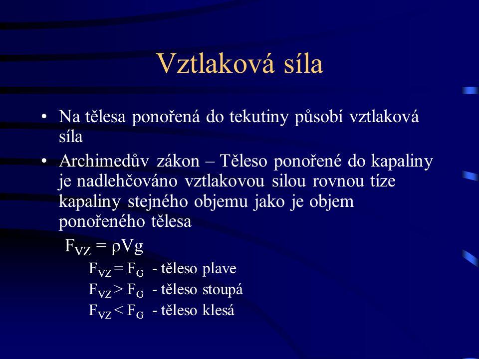 Vztlaková síla Na tělesa ponořená do tekutiny působí vztlaková síla Archimedův zákon – Těleso ponořené do kapaliny je nadlehčováno vztlakovou silou rovnou tíze kapaliny stejného objemu jako je objem ponořeného tělesa F VZ = ρVg F VZ = F G - těleso plave F VZ > F G - těleso stoupá F VZ < F G - těleso klesá