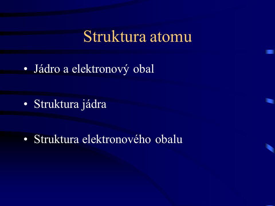 Struktura atomu Jádro a elektronový obal Struktura jádra Struktura elektronového obalu