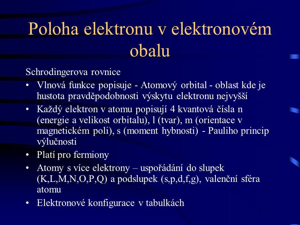 Poloha elektronu v elektronovém obalu Schrodingerova rovnice Vlnová funkce popisuje - Atomový orbital - oblast kde je hustota pravděpodobnosti výskytu elektronu nejvyšší Každý elektron v atomu popisují 4 kvantová čísla n (energie a velikost orbitalu), l (tvar), m (orientace v magnetickém poli), s (moment hybnosti) - Pauliho princip výlučnosti Platí pro fermiony Atomy s více elektrony – uspořádání do slupek (K,L,M,N,O,P,Q) a podslupek (s,p,d,f,g), valenční sféra atomu Elektronové konfigurace v tabulkách