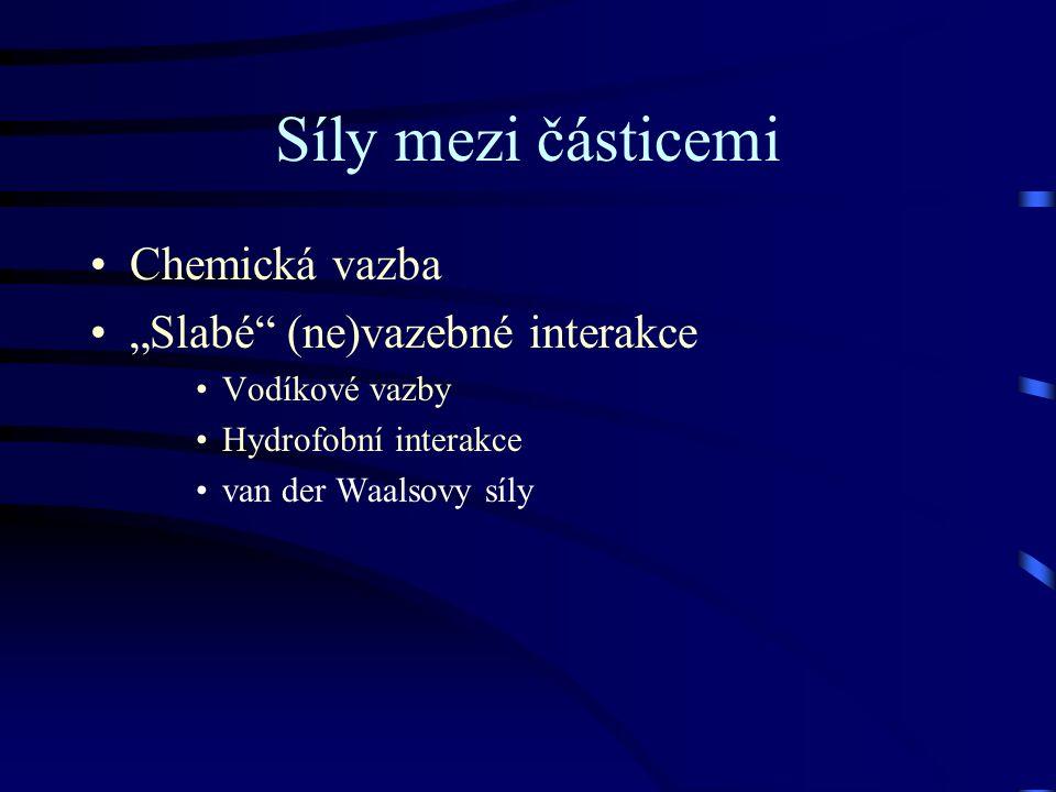 """Síly mezi částicemi Chemická vazba """"Slabé (ne)vazebné interakce Vodíkové vazby Hydrofobní interakce van der Waalsovy síly"""