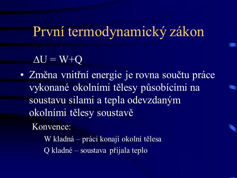 První termodynamický zákon ∆U = W+Q Změna vnitřní energie je rovna součtu práce vykonané okolními tělesy působícími na soustavu silami a tepla odevzdaným okolními tělesy soustavě Konvence: W kladná – práci konají okolní tělesa Q kladné – soustava přijala teplo