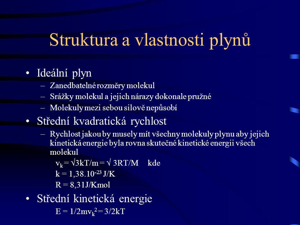 Struktura a vlastnosti plynů Ideální plyn –Zanedbatelné rozměry molekul –Srážky molekul a jejich nárazy dokonale pružné –Molekuly mezi sebou silově nepůsobí Střední kvadratická rychlost –Rychlost jakou by musely mít všechny molekuly plynu aby jejich kinetická energie byla rovna skutečné kinetické energii všech molekul v k = √3kT/m = √ 3RT/M kde k = 1,38.10 -23 J/K R = 8,31J/Kmol Střední kinetická energie E = 1/2mv k 2 = 3/2kT