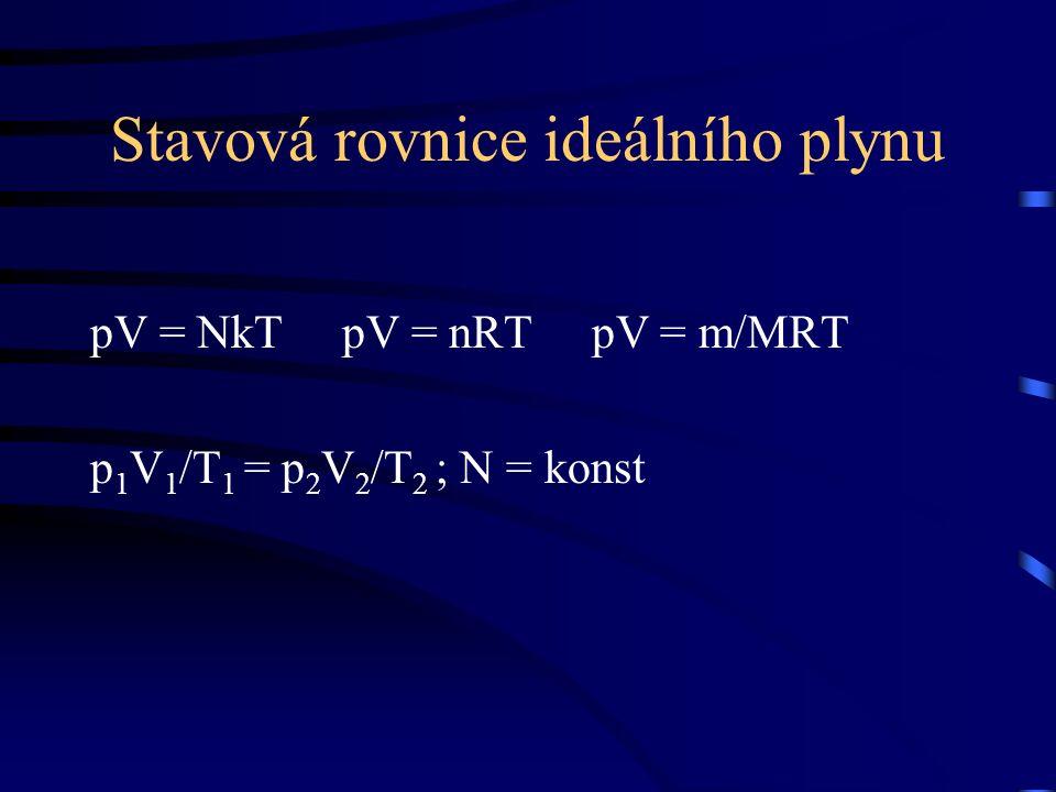 Stavová rovnice ideálního plynu pV = NkT pV = nRT pV = m/MRT p 1 V 1 /T 1 = p 2 V 2 /T 2 ; N = konst