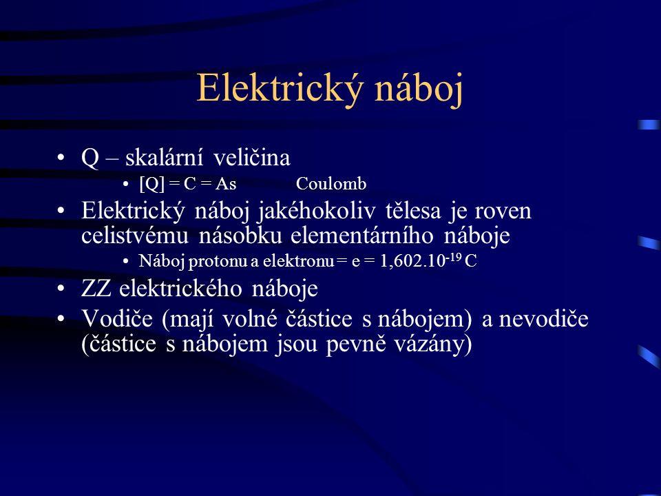 Elektrický náboj Q – skalární veličina [Q] = C = As Coulomb Elektrický náboj jakéhokoliv tělesa je roven celistvému násobku elementárního náboje Náboj protonu a elektronu = e = 1,602.10 -19 C ZZ elektrického náboje Vodiče (mají volné částice s nábojem) a nevodiče (částice s nábojem jsou pevně vázány)