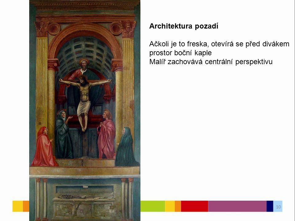 Architektura pozadí Ačkoli je to freska, otevírá se před divákem prostor boční kaple Malíř zachovává centrální perspektivu 10