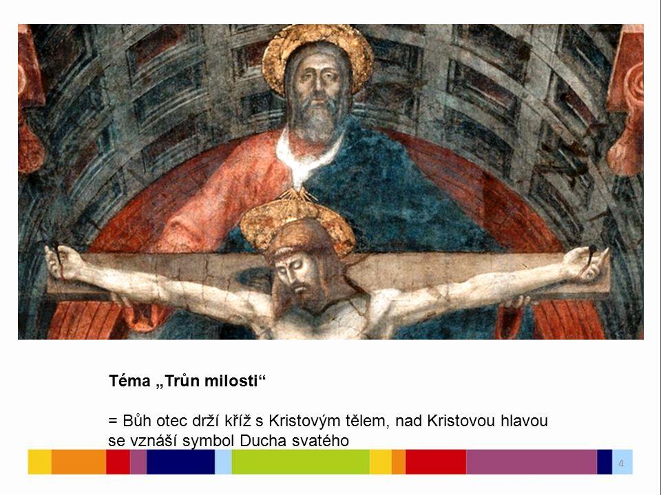 """Téma """"Trůn milosti"""" = Bůh otec drží kříž s Kristovým tělem, nad Kristovou hlavou se vznáší symbol Ducha svatého 4"""