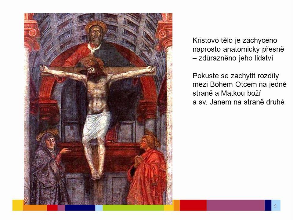 Kristovo tělo je zachyceno naprosto anatomicky přesně – zdůrazněno jeho lidství Pokuste se zachytit rozdíly mezi Bohem Otcem na jedné straně a Matkou
