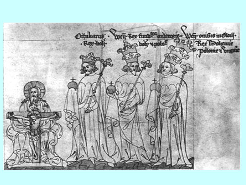 Přemysl usiloval o titul císaře- byl však příliš silný-německá knížata zvolila bezvýznamného kandidáta Rudolfa Habsburského Přemysl volbu neuznal- Rudolf uvalil na Přemysla klatbu- vzpoura šlechty v alpských zemích- Přemysl se musel vzdát nových držav r.