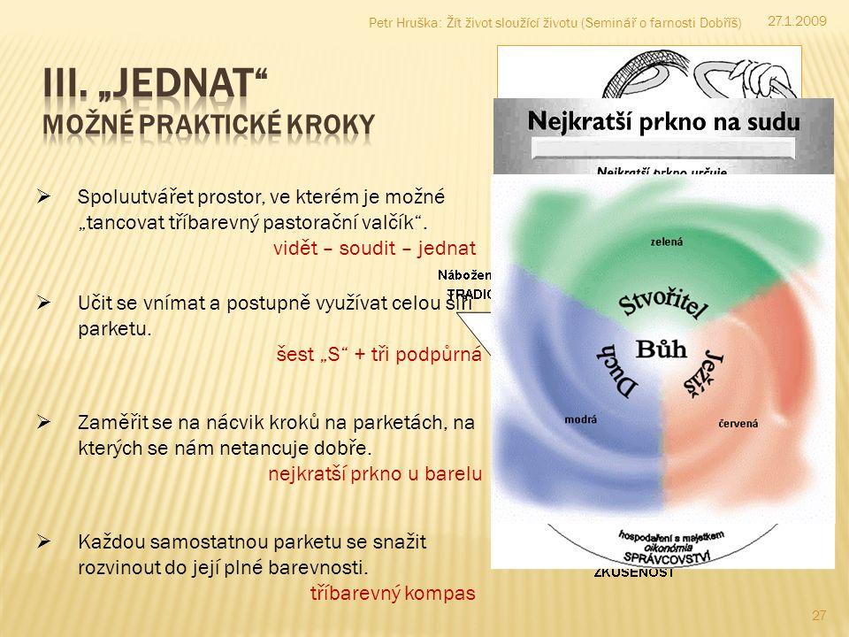 27 Petr Hruška: Žít život sloužící životu (Seminář o farnosti Dobříš)  Učit se vnímat a postupně využívat celou šíři parketu.