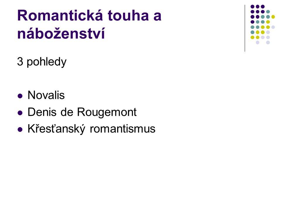 Romantická touha a náboženství 3 pohledy Novalis Denis de Rougemont Křesťanský romantismus