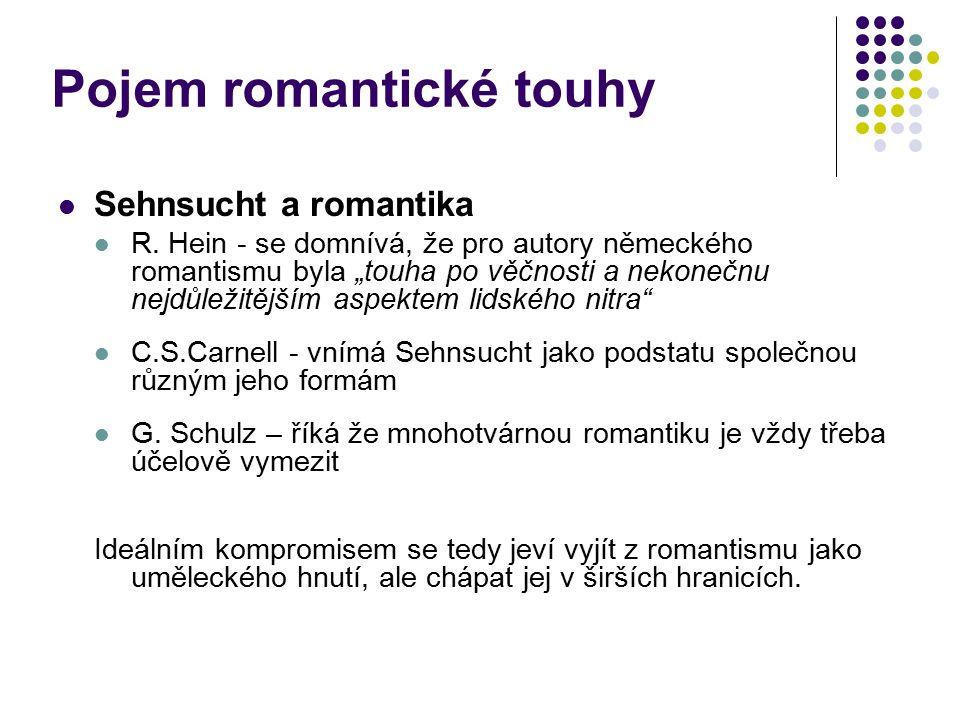 """Pojem romantické touhy Sehnsucht a romantika R. Hein - se domnívá, že pro autory německého romantismu byla """"touha po věčnosti a nekonečnu nejdůležitěj"""