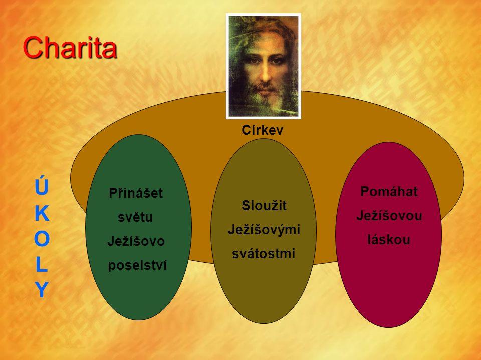 Charita Církev Přinášet světu Ježíšovo poselství Sloužit Ježíšovými svátostmi Pomáhat Ježíšovou láskou ÚKOLYÚKOLY