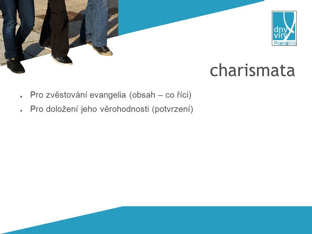 víry dny 2015 Praha charismata ● Pro zvěstování evangelia (obsah – co říci) ● Pro doložení jeho věrohodnosti (potvrzení)