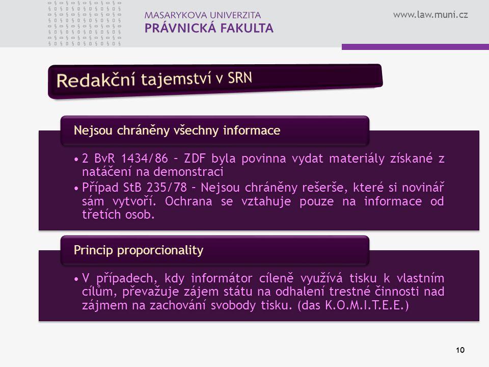 www.law.muni.cz 10 2 BvR 1434/86 – ZDF byla povinna vydat materiály získané z natáčení na demonstraci Případ StB 235/78 – Nejsou chráněny rešerše, kte
