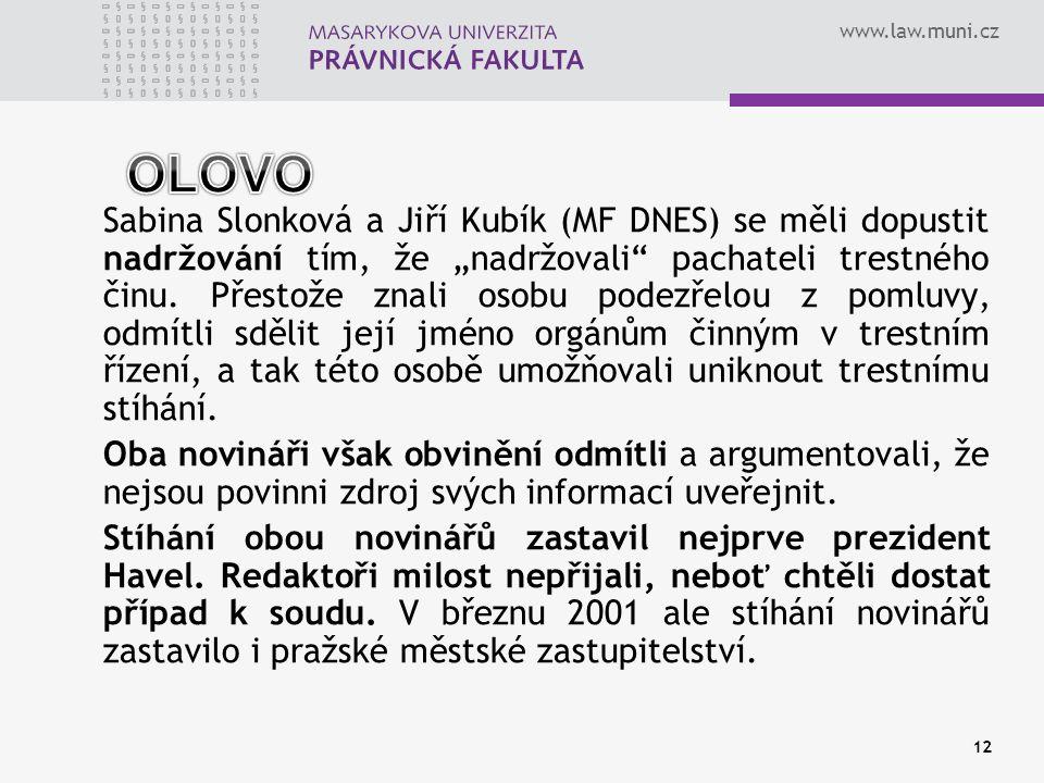 """www.law.muni.cz Sabina Slonková a Jiří Kubík (MF DNES) se měli dopustit nadržování tím, že """"nadržovali"""" pachateli trestného činu. Přestože znali osobu"""
