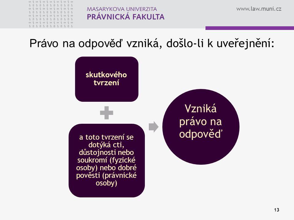 www.law.muni.cz Právo na odpověď vzniká, došlo-li k uveřejnění: skutkového tvrzení a toto tvrzení se dotýká cti, důstojnosti nebo soukromí (fyzické os