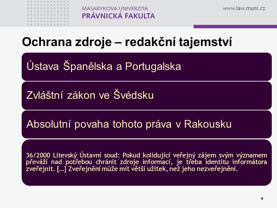 www.law.muni.cz 4 Ochrana zdroje – redakční tajemství Ústava Španělska a PortugalskaZvláštní zákon ve ŠvédskuAbsolutní povaha tohoto práva v Rakousku