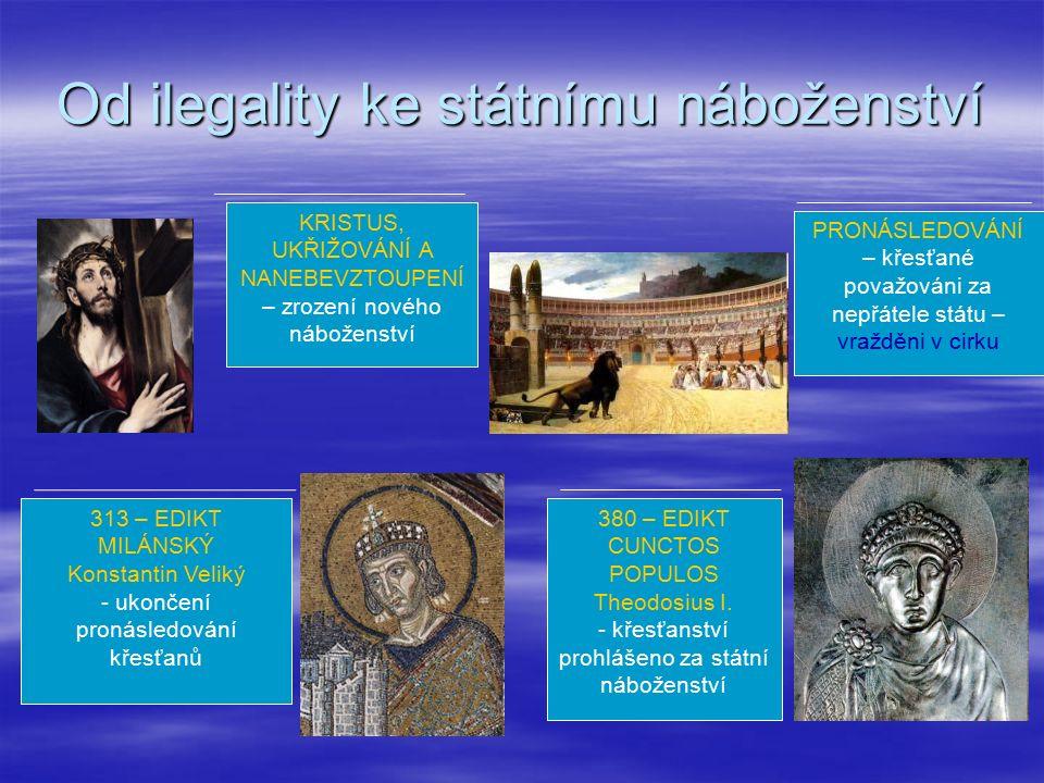Od ilegality ke státnímu náboženství KRISTUS, UKŘIŽOVÁNÍ A NANEBEVZTOUPENÍ – zrození nového náboženství PRONÁSLEDOVÁNÍ – křesťané považováni za nepřátele státu – vražděni v cirku 313 – EDIKT MILÁNSKÝ Konstantin Veliký - ukončení pronásledování křesťanů 380 – EDIKT CUNCTOS POPULOS Theodosius I.