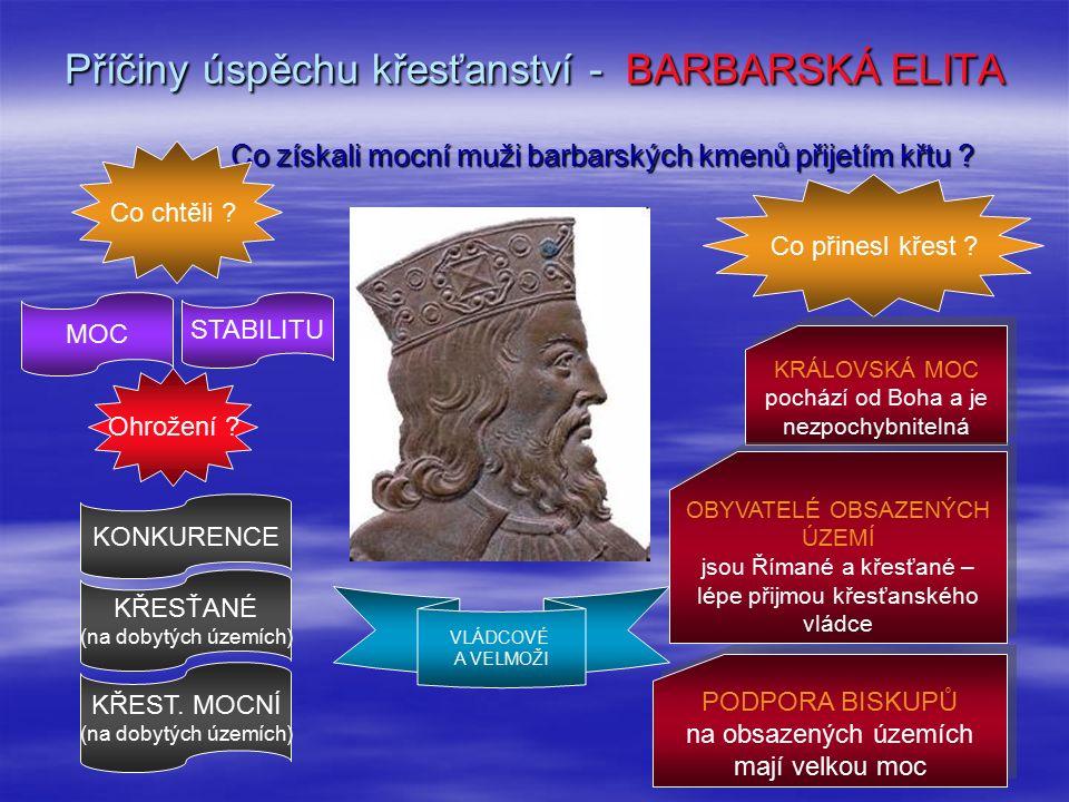 Příčiny úspěchu křesťanství - BARBARSKÁ ELITA VLÁDCOVÉ A VELMOŽI Co získali mocní muži barbarských kmenů přijetím křtu .