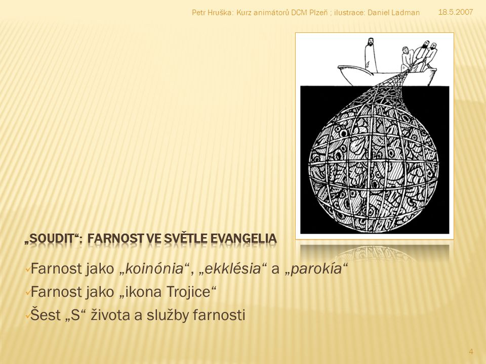 "Farnost jako ""koinónia"", ""ekklésia"" a ""parokía"" Farnost jako ""ikona Trojice"" Šest ""S"" života a služby farnosti 18.5.2007 4 Petr Hruška: Kurz animátorů"