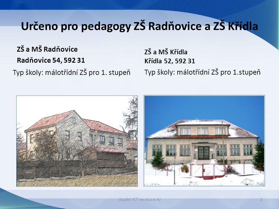 Určeno pro pedagogy ZŠ Radňovice a ZŠ Křídla ZŠ a MŠ Radňovice Radňovice 54, 592 31 ZŠ a MŠ Křídla Křídla 52, 592 31 Typ školy: málotřídní ZŠ pro 1.