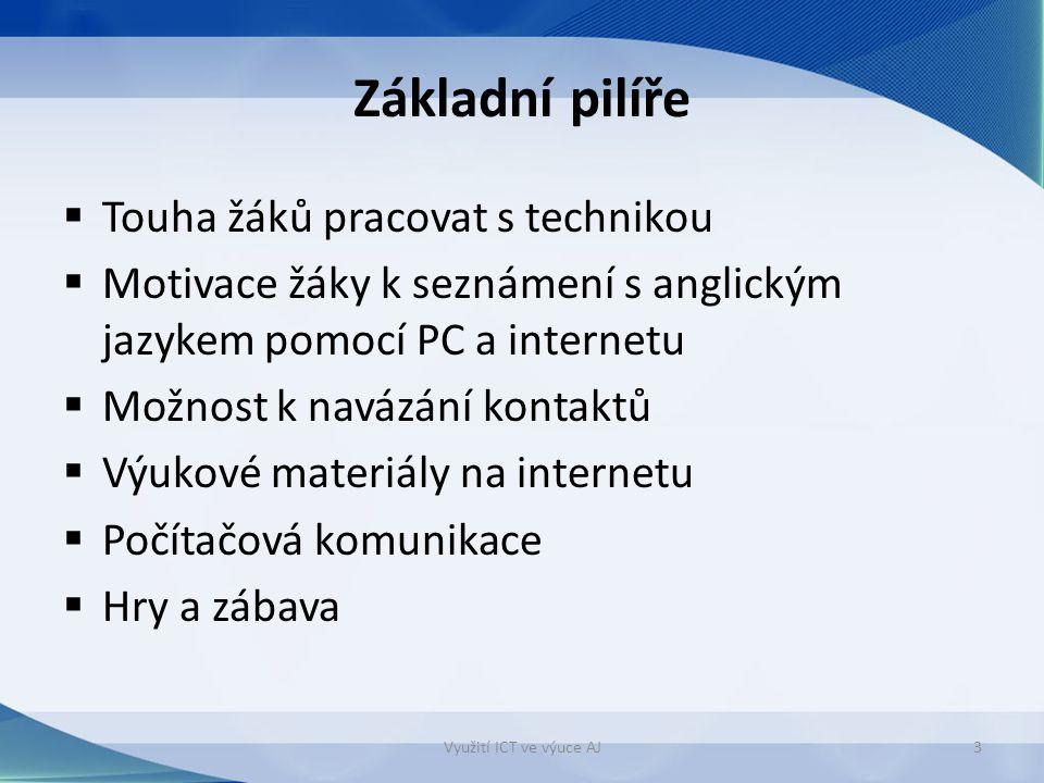 Základní pilíře  Touha žáků pracovat s technikou  Motivace žáky k seznámení s anglickým jazykem pomocí PC a internetu  Možnost k navázání kontaktů  Výukové materiály na internetu  Počítačová komunikace  Hry a zábava Využití ICT ve výuce AJ3
