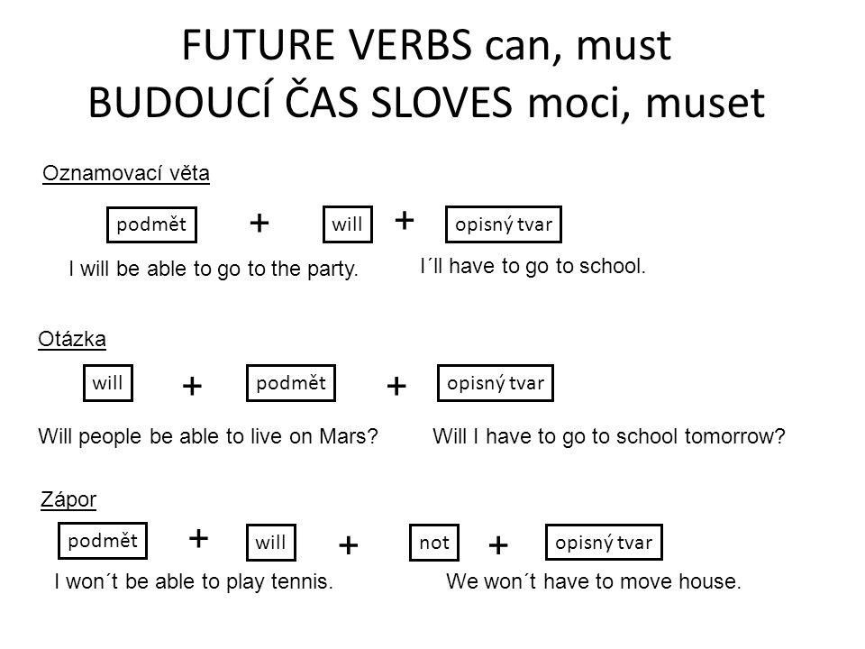 FUTURE VERBS can, must BUDOUCÍ ČAS SLOVES moci, muset Oznamovací věta podmět opisný tvar + I will be able to go to the party.