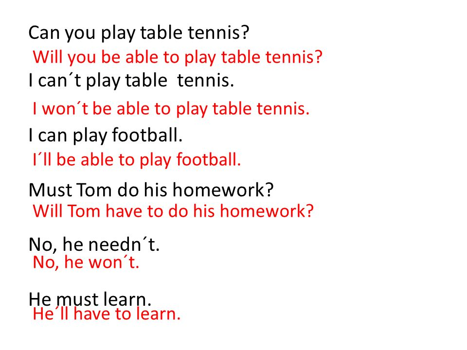 Can you play table tennis? I can´t play table tennis. I can play football. Must Tom do his homework? No, he needn´t. He must learn. Will you be able t