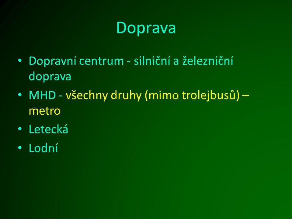 Doprava Dopravní centrum - silniční a železniční doprava MHD - všechny druhy (mimo trolejbusů) – metro Letecká Lodní