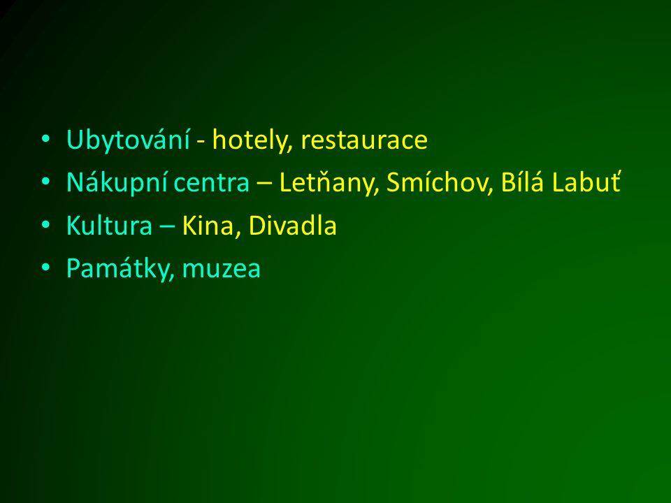 Ubytování - hotely, restaurace Nákupní centra – Letňany, Smíchov, Bílá Labuť Kultura – Kina, Divadla Památky, muzea