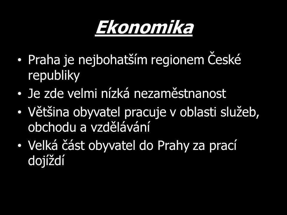 Ekonomika Praha je nejbohatším regionem České republiky Je zde velmi nízká nezaměstnanost Většina obyvatel pracuje v oblasti služeb, obchodu a vzdělávání Velká část obyvatel do Prahy za prací dojíždí