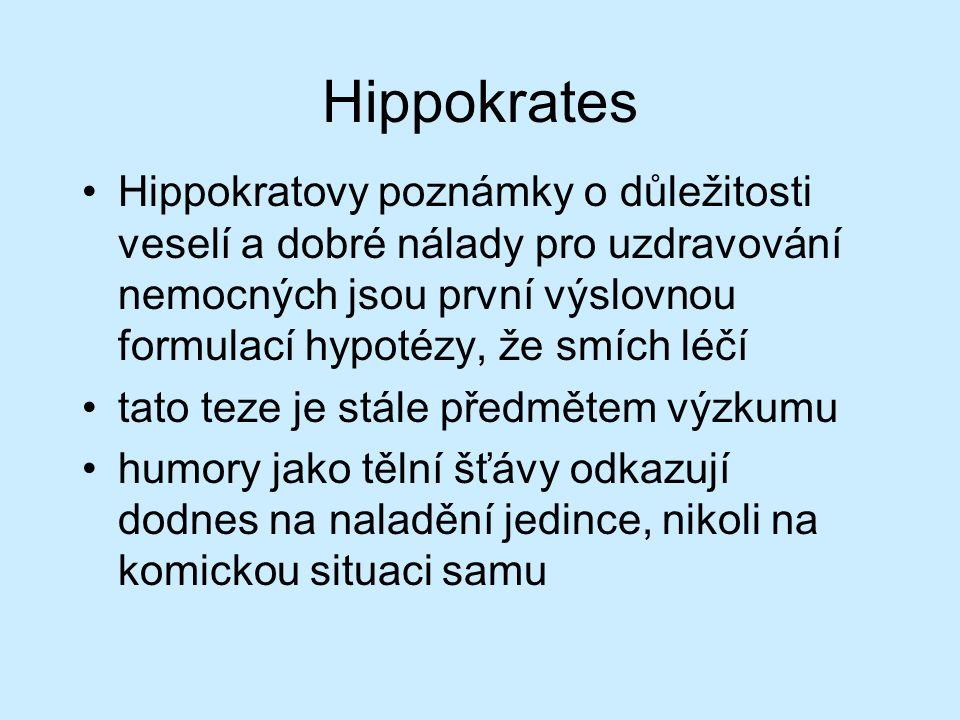 Hippokrates Hippokratovy poznámky o důležitosti veselí a dobré nálady pro uzdravování nemocných jsou první výslovnou formulací hypotézy, že smích léčí tato teze je stále předmětem výzkumu humory jako tělní šťávy odkazují dodnes na naladění jedince, nikoli na komickou situaci samu