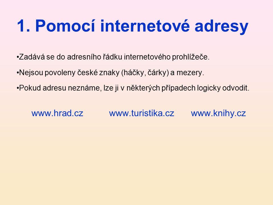 1.Pomocí internetové adresy Zadává se do adresního řádku internetového prohlížeče.