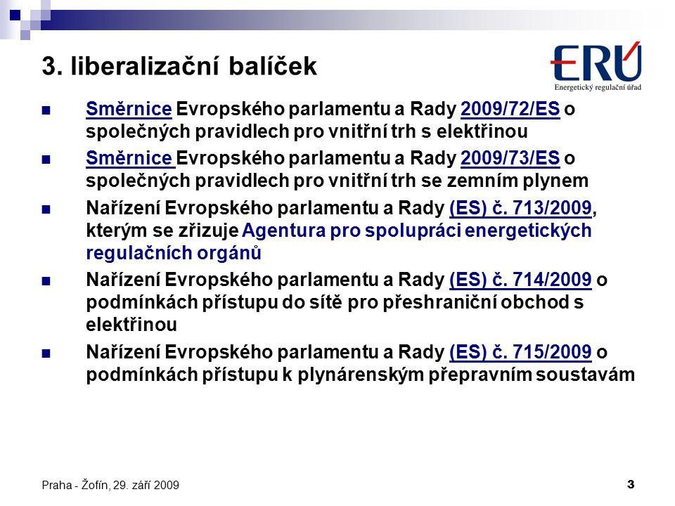 3 3. liberalizační balíček Směrnice Evropského parlamentu a Rady 2009/72/ES o společných pravidlech pro vnitřní trh s elektřinou Směrnice Evropského p