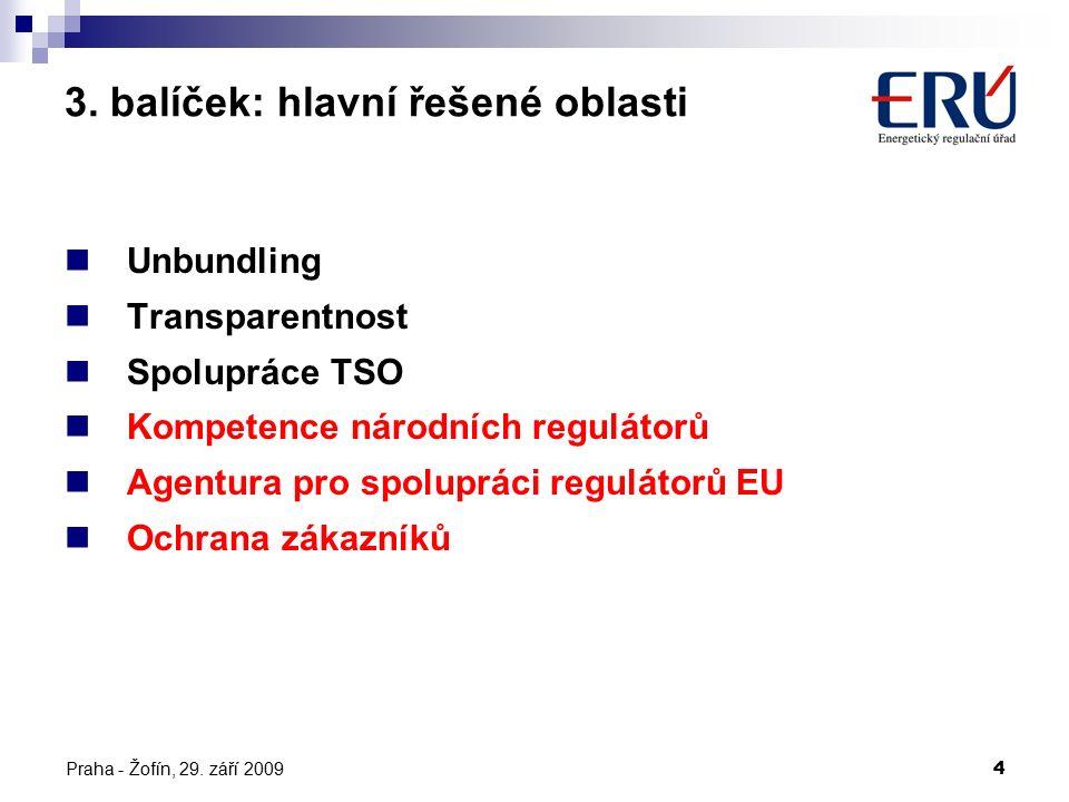 Praha - Žofín, 29. září 20094 3. balíček: hlavní řešené oblasti Unbundling Transparentnost Spolupráce TSO Kompetence národních regulátorů Agentura pro