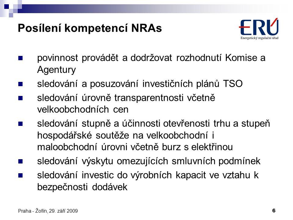Praha - Žofín, 29. září 20096 Posílení kompetencí NRAs povinnost provádět a dodržovat rozhodnutí Komise a Agentury sledování a posuzování investičních