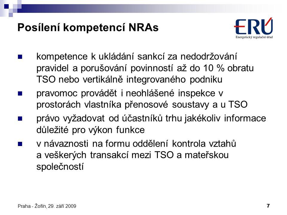 Praha - Žofín, 29. září 20097 Posílení kompetencí NRAs kompetence k ukládání sankcí za nedodržování pravidel a porušování povinností až do 10 % obratu