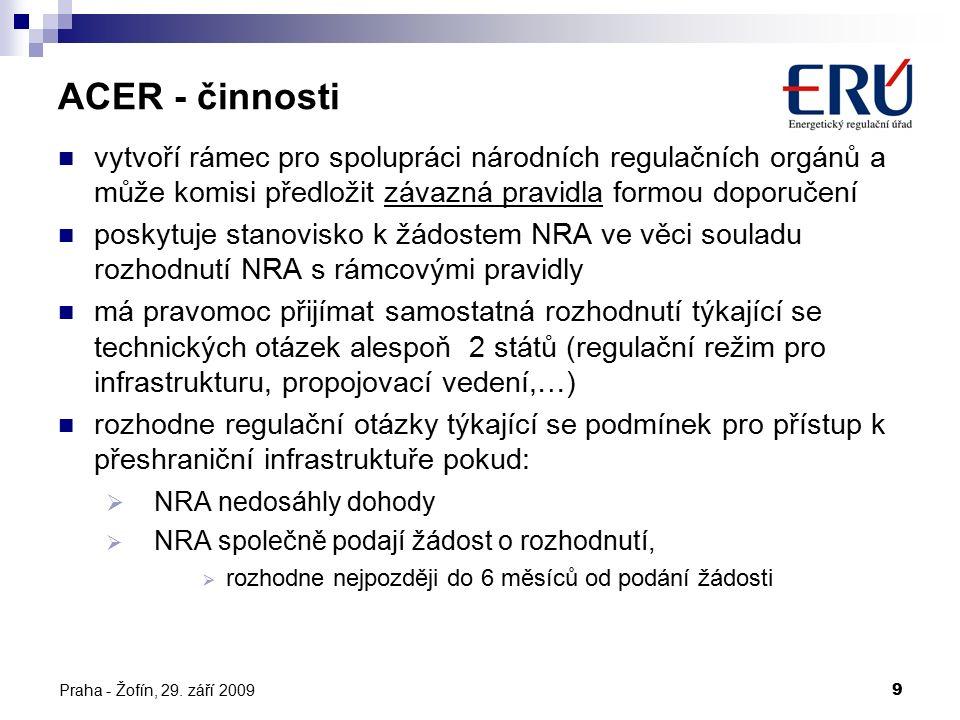 Praha - Žofín, 29. září 20099 vytvoří rámec pro spolupráci národních regulačních orgánů a může komisi předložit závazná pravidla formou doporučení pos