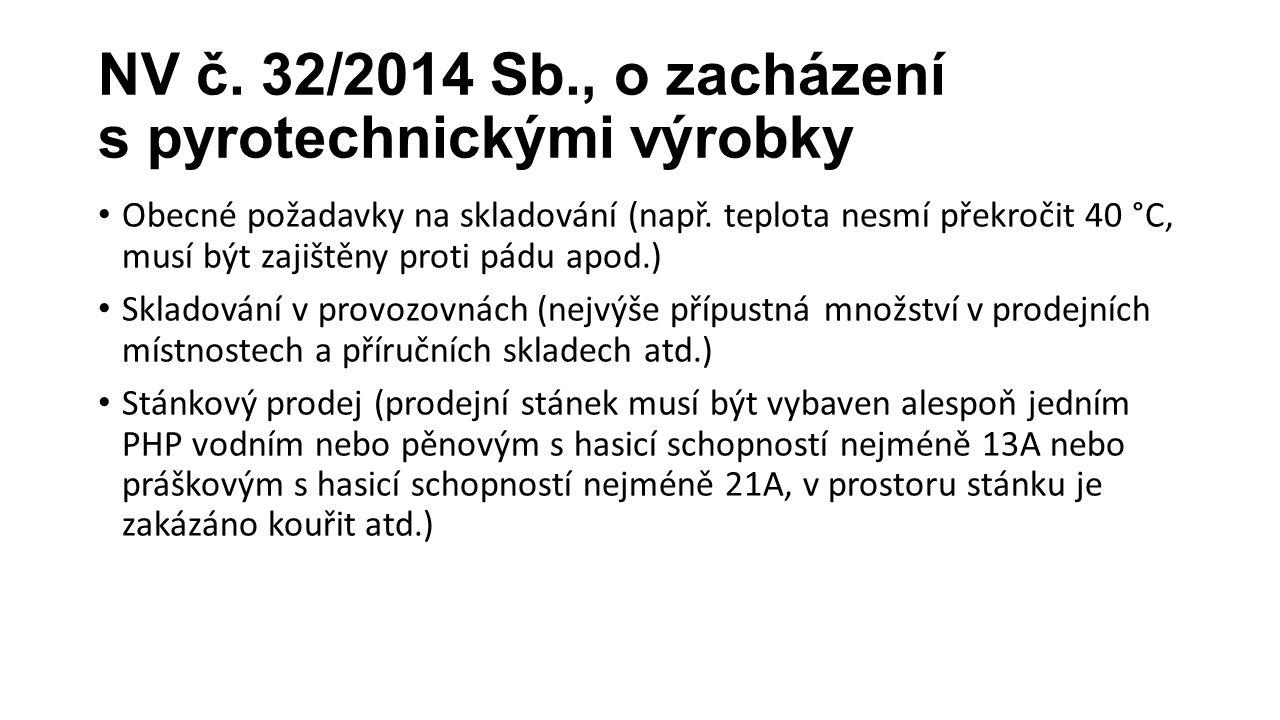 NV č. 32/2014 Sb., o zacházení s pyrotechnickými výrobky Obecné požadavky na skladování (např. teplota nesmí překročit 40 °C, musí být zajištěny proti
