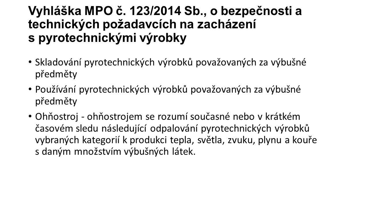 Vyhláška MPO č. 123/2014 Sb., o bezpečnosti a technických požadavcích na zacházení s pyrotechnickými výrobky Skladování pyrotechnických výrobků považo