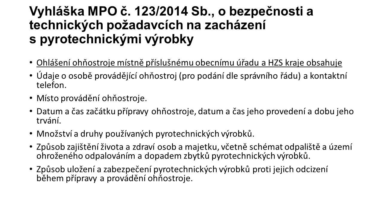 Vyhláška MPO č. 123/2014 Sb., o bezpečnosti a technických požadavcích na zacházení s pyrotechnickými výrobky Ohlášení ohňostroje místně příslušnému ob