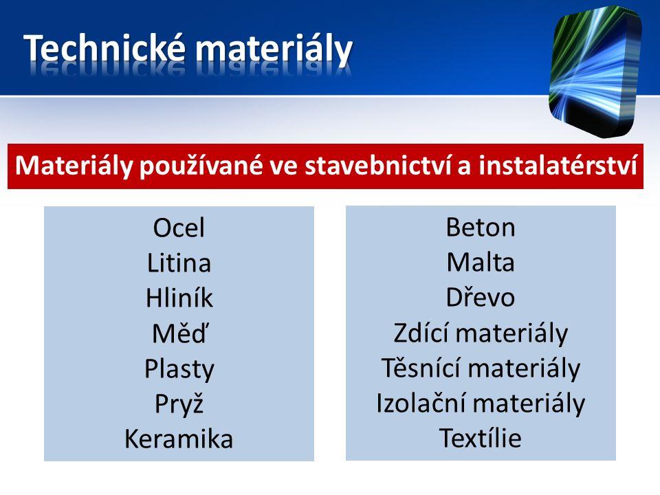 Materiály používané ve stavebnictví a instalatérství Ocel Litina Hliník Měď Plasty Pryž Keramika Beton Malta Dřevo Zdící materiály Těsnící materiály Izolační materiály Textílie