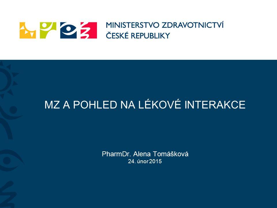 MZ A POHLED NA LÉKOVÉ INTERAKCE PharmDr. Alena Tomášková 24. únor 2015