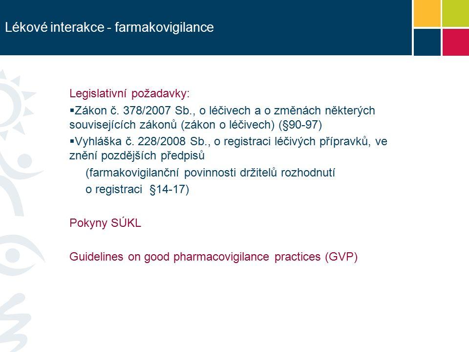 Lékové interakce - farmakovigilance Legislativní požadavky:  Zákon č.