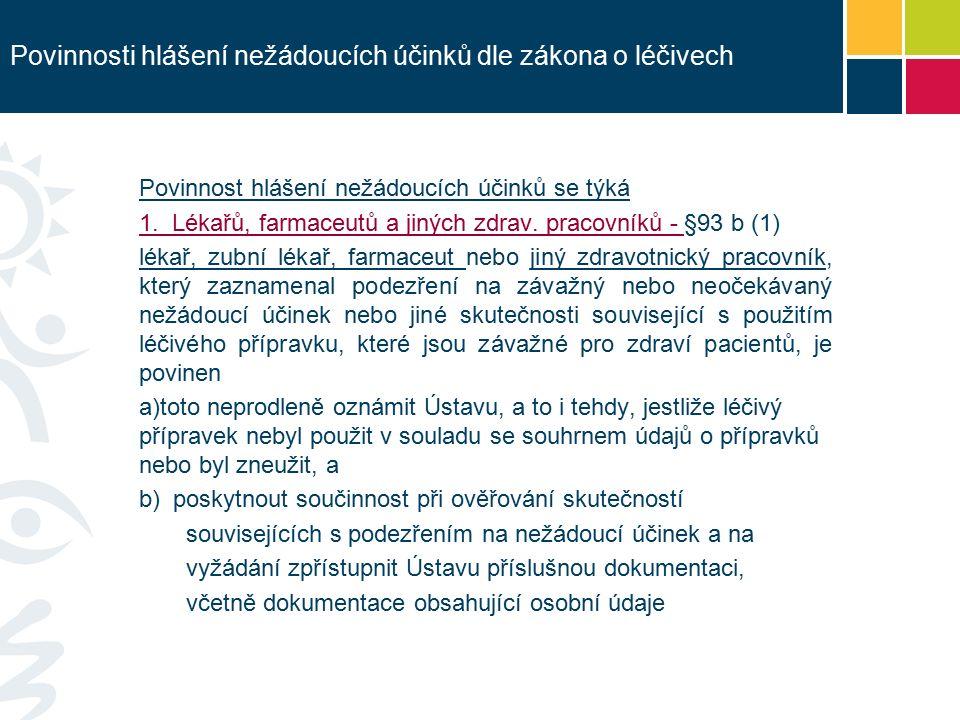 Povinnosti hlášení nežádoucích účinků dle zákona o léčivech Povinnost hlášení nežádoucích účinků se týká 1.