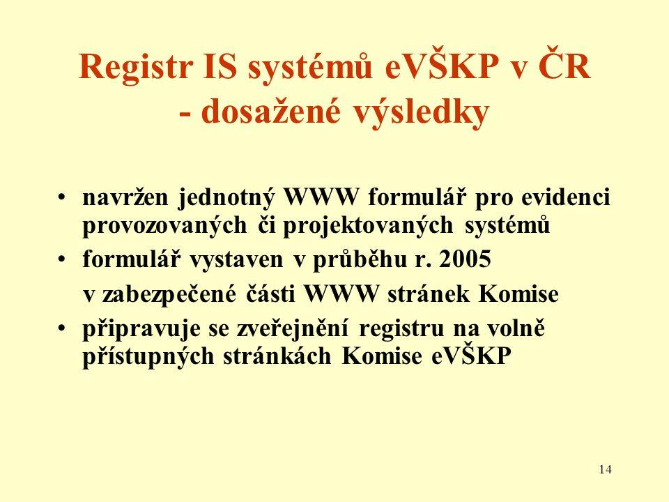 14 Registr IS systémů eVŠKP v ČR - dosažené výsledky navržen jednotný WWW formulář pro evidenci provozovaných či projektovaných systémů formulář vystaven v průběhu r.